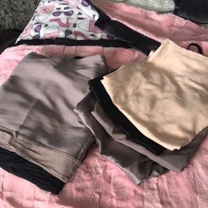 3 silky pants and 4 silky camis
